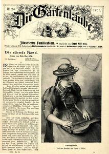 Junge Zitherspielerin in Tracht Dekorative Titelblatt-Vignette von 1901