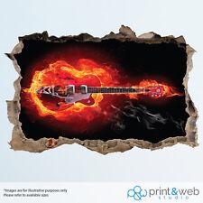 Cool Red Guitar Flames Wall Smash Decal Sticker 3D Bedroom Vinyl Mural Art