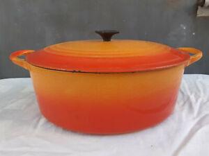LE CREUSET Ancienne Cocotte Faitout Poêlon Casserole en Fonte Émaillée Orange
