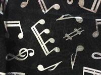 Unisex SILVER Foil Music Note Print Scarf Soft Light Long Choir Group Scarf Wrap