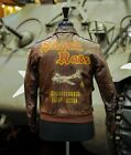WWII US Air Force A2 Leather Bomber Flight Jacket Painted 390th Bomb Group B-17