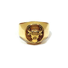 SOLID 18K YELLOW GOLD SOUTHWESTERN STEER HEAD RING ~ SIZE 9 1/4
