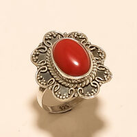 Natural Italian Red Coral Ring 925 Sterling Silver Handmade Fine Jewelry Gifts