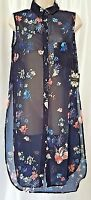 NWT Cliche Casual Chiffon Long Shirt Sleeveless Top Blouse Small Navy Floral
