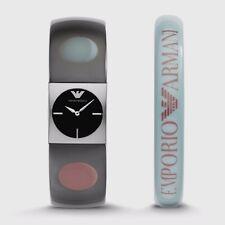new ladies EMPORIO ARMANI AR7378 Gift Set WATCH + BANGLE plastic logo bracelet