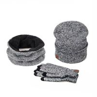 3 Pieces Women Winter Set Gloves + Scarf + Hat Cotton Solid Knitted Accessories