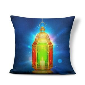 MAROC LANTERN Eid Mubarak Pillow Cover Hijab 17x17 Decorative Linen Pillow Cover