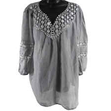 Mac Dougal & Houston Gray Floral Lace Embroidered 3/4 Sleeve Blouse Size Large