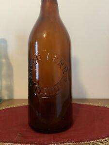 Amber Beer Bottle labeled Fred Fenn Rutland Vt