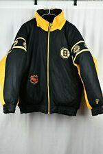 Vintage Boston Bruins Reversible NHL Pro Player Jacket Size Mens Large FREE HAT