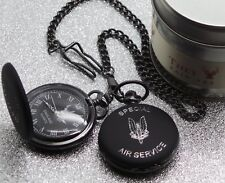 SAS Black Pocket Watch and Chain LUXURY Engraved Crest Badge Metal Case Army