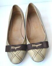 Salvatore Ferragamo Khaki Stone Leather Rubber Sole Ballet Flats Shoes SZ 8