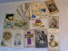 PRE-LINEN EASTER GREETINGS! 27 POSTCARD LOT EMBOSSED+ 1900's UP >100 YRS OLD i