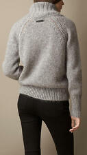 595 New BURBERRY BRIT Mohair Sweater,M,Logo,Shawl Collar,Brushed,Pale Grey,NWT