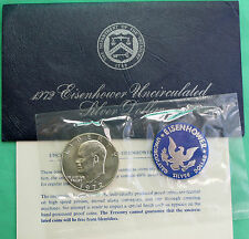1972 S SILVER Ike Dollar Blue Eisenhower BU 40% Silver Coin and US Mint Envelope