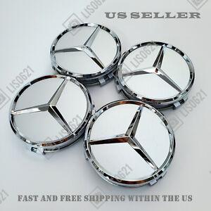 Set of 4 Silver Chrome Wheel Center Caps Hubcaps Emblem Fits Mercedes Benz 75MM