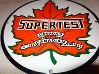 VINTAGE SUPERTEST CANADA MAPLE LEAF PORCELAIN METAL GASOLINE OIL SIGN PUMP PLATE
