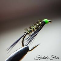 Fly Fishing Straight DB Set of 3 J//C Olive Quill Diawl Bachs size 12