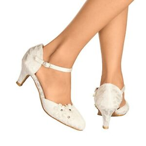 NEW IVORY LACE KITTEN HEEL FLOWER DETAIL MARY JANE EVENING WEDDING SHOES 3-8