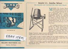 C 1937 Pamphlet JUMBO CONCRETE MIXER Nelson Brothers Company SAGINAW MICHIGAN