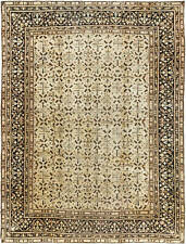 Antique Indian Agra Cream, Caramel and Brown Handwoven Wool Carpet BB2727