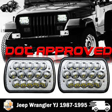 5x7'' 7x6'' LED Headlight Hi-Lo Beam Halo DRL For Jeep Cherokee XJ YJ 1987-1995