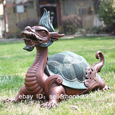China myth four big animal- Dragon Turtle painted Bronze Art Deco Sculpture