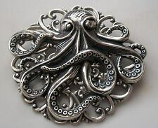 New OCTOPUS BROOCH Renaissance Pirate Halloween Costume Hat Pin STERLING SILVER