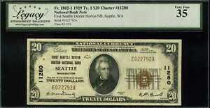 1929 $20 1st Seattle Natl Bank Seattle WA Fr 1802-1 Ty.1 Ch#11280 VF35 #E022792A