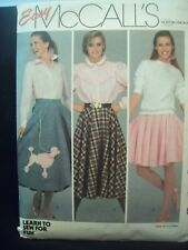 Vintage McCalls Pattern 8664 Learn to Sew Skirt Poodle Skirt Size 10 Cut Pattern