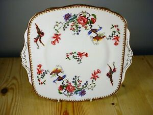 Paragon Exotic Birds & Blossom Bread & Butter / Cake Plate 6072