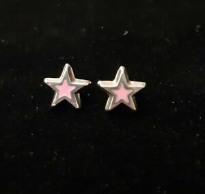 Mexican 925 Sterling Silver Earrings Stars rose pink cute Latina