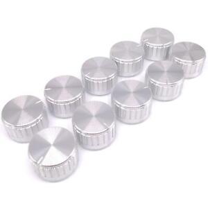 10pcs Silver Aluminum Volume Control Knob Amplifier Wheel 30*17mm D-Shaft