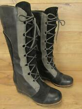 Sorel Cate the Great Black Grey Leather Tall Lace Up Wedge Boots 10