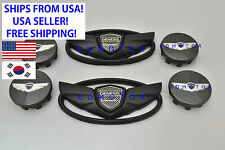 2012 2013 2014 for HYUNDAI Genesis Coupe MATTE BLACK Wing Emblem + Wheel Caps