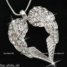 18K WHITE GOLD ANGEL WINGS CRYSTAL HEART NECKLACE PENDANT VALENTINE GIFT PRESENT