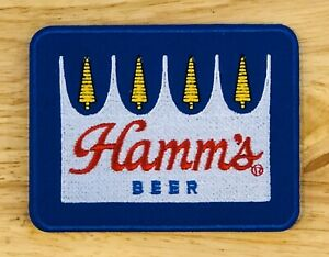 """HAMM'S Beer Embroidered Patch Hat American Hamms Brew Vintage Style Iron On 3x4"""""""