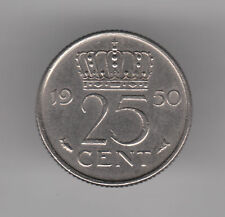 Netherlands 25 Cents 1950 Nickel Coin - Queen Juliana
