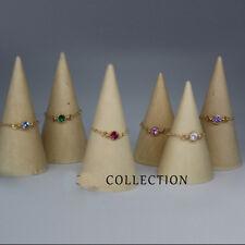 tiny rhinestone ring gold chain custom ring handmade thin ring minimalist ring