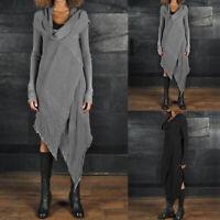 Damen Hoch niedrig Rollkragen Kleid Maxikleid Langarm Plain Freizeit Herbstkleid