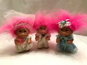 """Norfin Troll Dolls Mini Bride Groom Flower Girl Pink Hair  Lot 3"""" 1986 Vintage"""