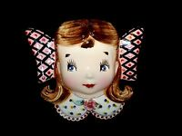 Wall Pocket girl Head Vase Vintage Rare and Adorable Antique Kitsch Hand painted