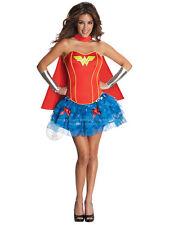 Adult Wonder Woman Fancy Dress Costume Sexy Superhero Corset Ladies Womens BN