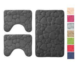 hengshu Set di tappetini da Bagno per tappetini da Bagno in Tessuto di Velluto di Corallo Morbido Antiscivolo in Rosa Corallo Morbido Copri coprivaso Copriwater Antiscivolo Set da 3 Pezzi