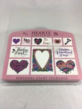 Hearts Rubber Stamp Set Personal Stamp Exchange Valentine's Day Stamps Set of 10
