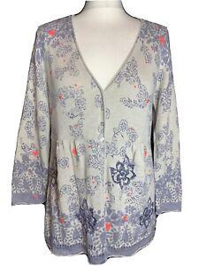 White Stuff Ladies Cotton Grey Floral  Cardigan Size 14 (A2)