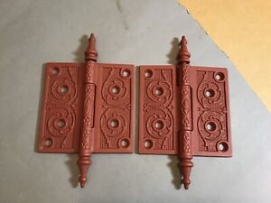 Pair Antique Cast Iron Door Hinges