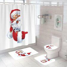 Santa Claus Shower Curtain Bathroom Rug Set Bath Mat Non-Slip Toilet Lid Cover
