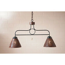 Franklin Hanging Country Kitchen Pendant Light in Rustic Tin w/ Chisel Shades