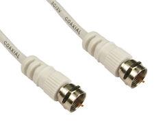 3m Satellite Cable Lead F Type Screw C Sky Digital Virgin Plug WHITE